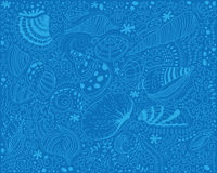 Pattern light blue seashells Stock Photo
