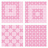 Pattern in light and dark shades of pink with abstract decorations shaped candies Royalty Free Stock Photo