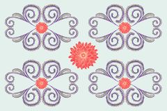 A pattern of lilac plants with curls and round red flowers. vector illustration