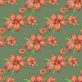 Pattern with lilies Stock Photography