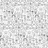 Pattern With Line Hand Drawn Doodle Lovely Background For Kid. Doodle Funny. Handmade Vector Illustration Royalty Free Stock Image