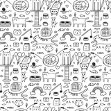 Pattern With Line Hand Drawn Doodle Lovely Cat Background. Doodle Funny. Handmade Vector Illustration Stock Photography