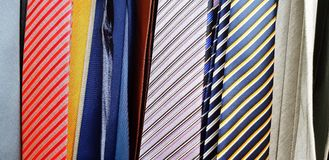 The Pattern and Line of many colorful neckties stock image