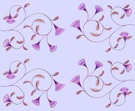 A pattern of linear ornament with small flowers on a gentle colored background. vector illustration