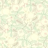 Pattern of linear pomegranate and apple tree Royalty Free Stock Photos
