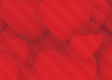 Pattern lines on multiple red heart background. Line pattern on 3d multiple hearts  background Stock Image