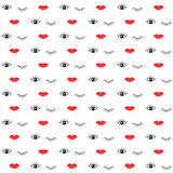 Pattern with lips and eyes. Simple seamless pattern with red lips and open and closed eyes. Vector illustration background for design of the web site or print Royalty Free Stock Photo