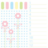 The Pattern list in baby registration. Royalty Free Stock Image