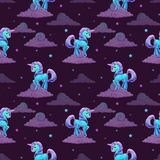 Pattern with little cartoon blue unicorn Stock Photo