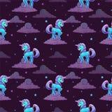 Pattern with little cartoon blue unicorn Stock Photo
