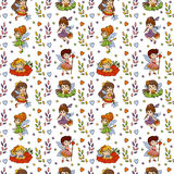 Pattern with little fairies on white background Royalty Free Stock Images