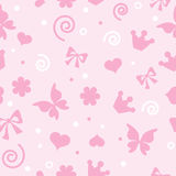 Pattern for little girls for textiles. Pattern for little girls. Pink bow flowers and crown. Texture for textiles Royalty Free Stock Photo