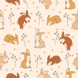 Pattern with little sweet rabbits. Royalty Free Stock Photo