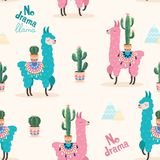 Pattern with llama and cactus. Vector seamless texture. royalty free illustration