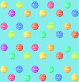 Pattern with lollipop on blue background, royalty free illustration