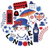 Pattern with London symbols. With blue and red color Royalty Free Stock Photos