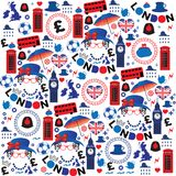 Pattern with London symbols Royalty Free Stock Photos