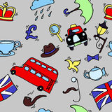 Pattern with London touristic icons Royalty Free Stock Photography