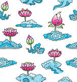 Pattern with lotus flowers and clouds. Simple lotus flowers and clouds on seamless background Royalty Free Stock Images
