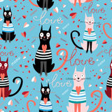 Pattern in love cats Royalty Free Stock Photography