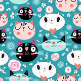 Pattern of love funny cats Stock Image
