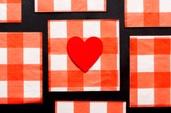 Pattern or Love: Heart on Checkered Pattern Stock Photography