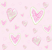Pattern love. Seamless vector pattern with hearts on pink background Royalty Free Stock Photo