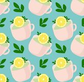 Pattern of lovely tea mugs with lemon and green leaves. Refreshing tea. Vector Pattern on the blue backgraund royalty free illustration