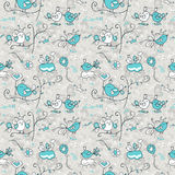 Pattern with loving birds on a gray background. stock illustration