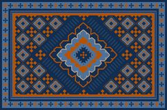 Pattern of a luxury old oriental carpet with orange,dark blue and beige patterns on blue background. Vintage pattern of a luxury old oriental carpet with orange royalty free illustration
