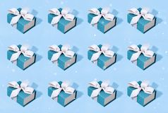 Pattern made of blue gift boxes. stock illustration
