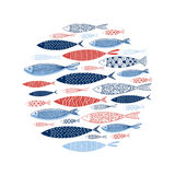 Pattern made of decorative fish. Vector Royalty Free Stock Image