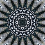 Wrought iron railing and clinker brickwork seen through kaleidoscope. Pattern made of the facade of a house with brickwork and wrought iron railing at the royalty free illustration