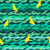 Pattern made of sea waves and yachts Stock Images
