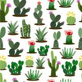 A pattern made up of desert cacti stock illustration