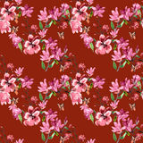Pattern magnolia flowers painted watercolor Stock Image