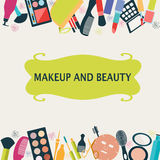 Pattern MakeUp and beauty cosmetic Royalty Free Stock Photo