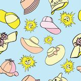 Pattern with male, female and children`s hats for protection from the sun royalty free illustration