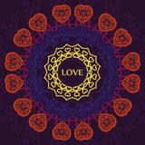 Pattern mandala of hearts, relaxation and meditation, postcard t Royalty Free Stock Images