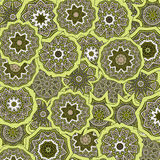 Pattern with mandalas. Drawing of a pattern with ethnic mandalas in green colors Royalty Free Stock Photo