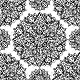 Pattern of mandalas. Seamless oriental pattern of round black decorations on a white background. Vector pattern of filigree mandalas symmetrically located Royalty Free Stock Image