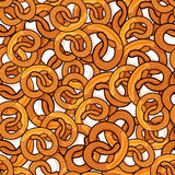 Pattern with many delicious pretzels. With slice of butter for poster, menus, brochure, web and icon fastfood. Cartoon style with outline on white background Stock Image