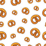 Pattern with many pretzels go wild. Pattern with many delicious go wild pretzels with slice of butter for poster, menus, brochure, web and icon fastfood. Cartoon Stock Image