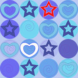 Pattern with marine stars and hearts Stock Image