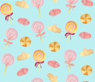 Pattern with marshmallows, meringues and caramels on a blue background, vector illustration