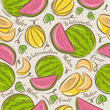 Pattern with melon and watermelon Stock Photography