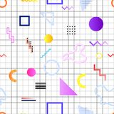 Pattern memphis 80s. Pattern memphis from elements of different geometric shapes of bright colors and linear gradient in the style of the 80`s 90`s on the stock illustration
