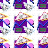 Pattern memphis style. Pattern in a memphis style, with geometric figures, different colors, shadows, fillings, on the background of the cell of the 80`s royalty free illustration