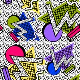 Pattern Memphis 80th. Of geometric shapes, bright colors against a noisy texture vector illustration