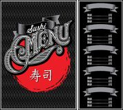 pattern for menu sushi over black background and calligraphy Stock Photo